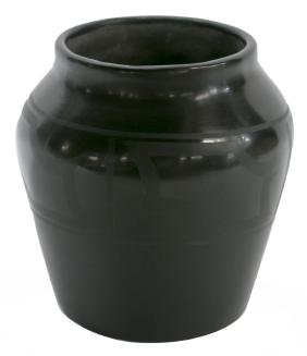 "MARIE MARTINEZ BLACK ON BLACK JAR, 6"" x 6.25"""