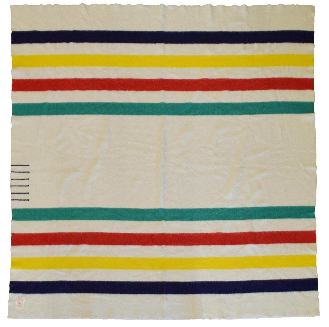 HUDSON'S BAY POINT STRIPPED WOOL BLANKET