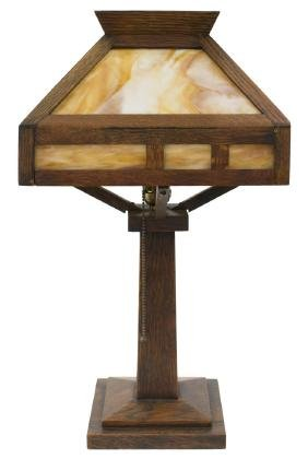 ARTS & CRAFTS OAK & SLAG GLASS TABLE LAMP