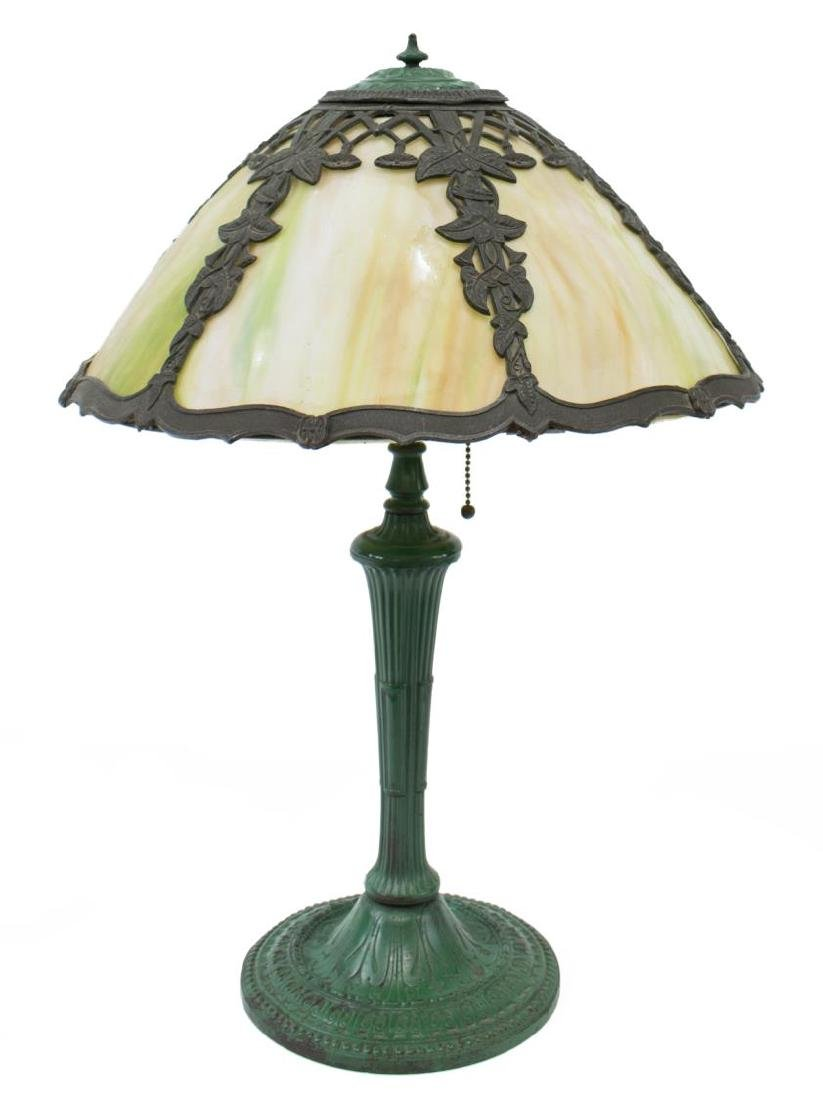 ARTS & CRAFTS SLAG GLASS TWO-LIGHT TABLE LAMP