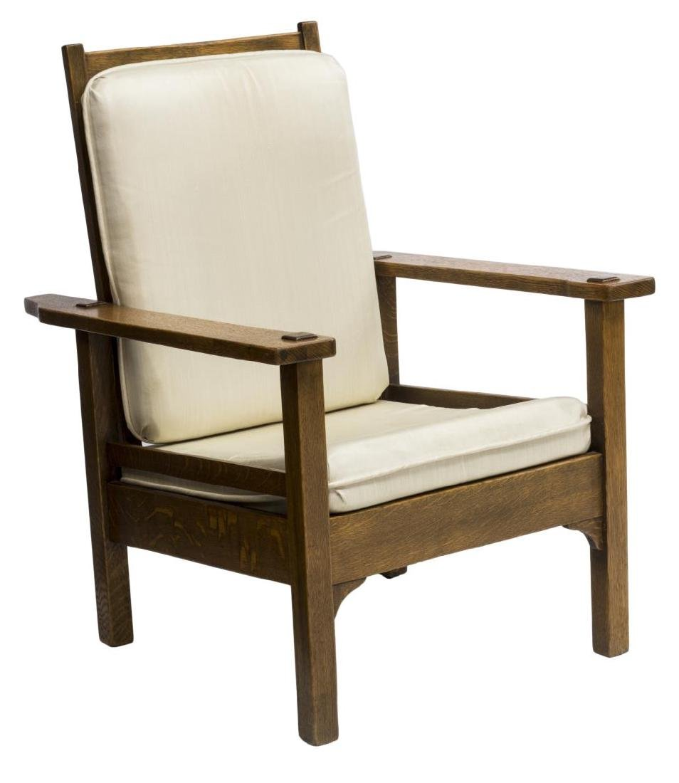 ARTS & CRAFTS STYLE OAK MORRIS CHAIR