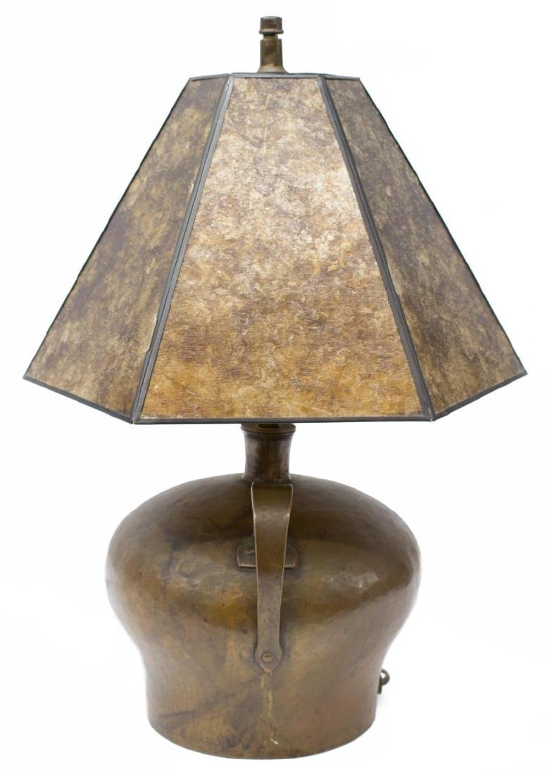 ARTS & CRAFTS HAMMERED COPPER JUG TABLE LAMP - 2
