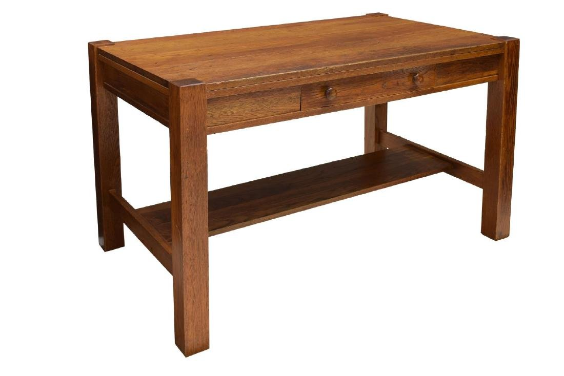 ARTS & CRAFTS OAK LIBRARY TABLE