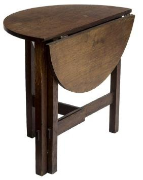 ARTS & CRAFTS OAK GATE LEG DROP LEAF SIDE TABLE