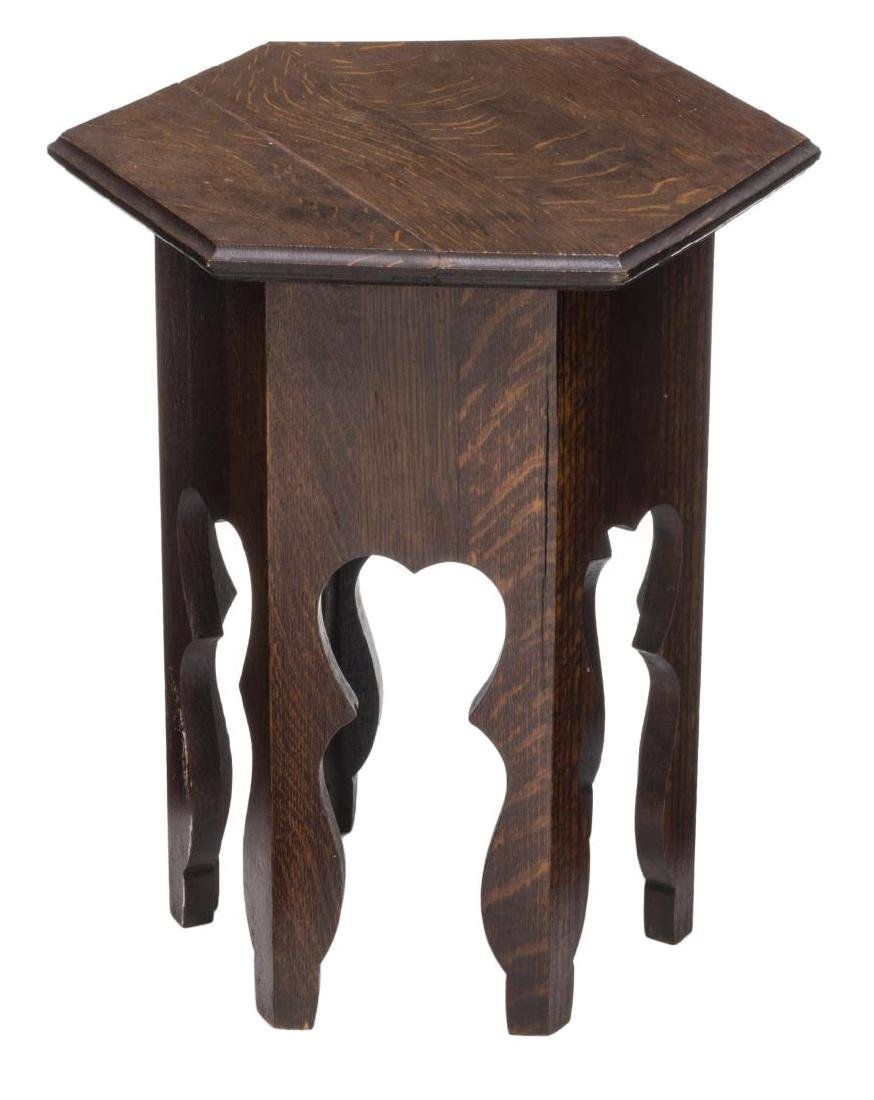 ARTS & CRAFTS OAK HEXAGONAL SIDE TABLE, 20TH C