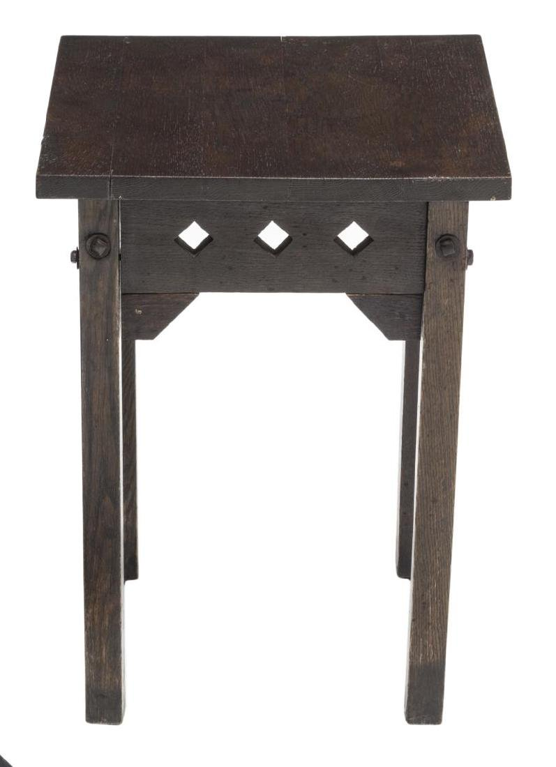 CUSHMAN ARTS & CRAFTS OAK SQUARE TOP SIDE TABLE - 2