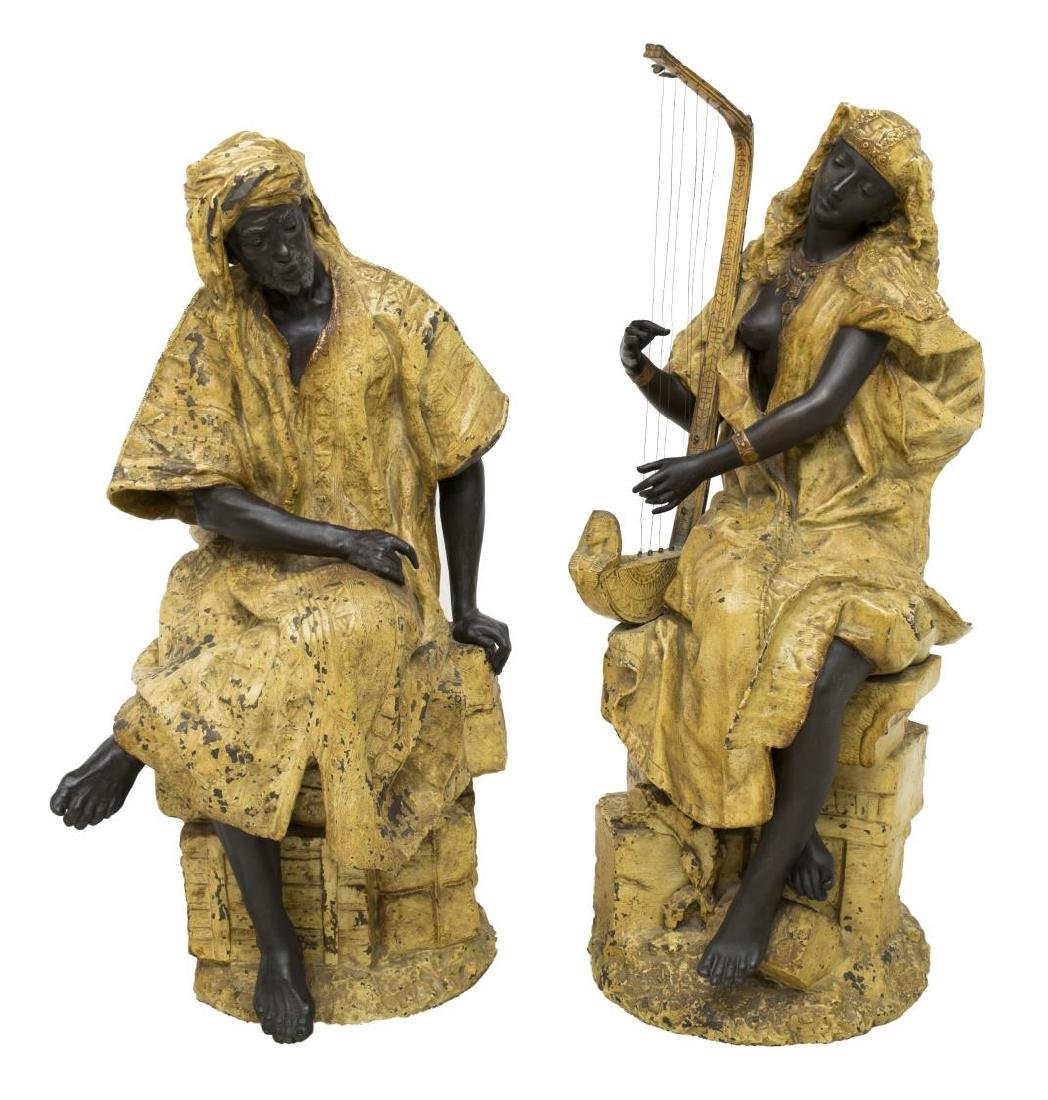 "(2) COLD PAINTED METAL ORIENTALIST FIGURES, 36""H"