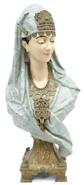 ORIENTALIST COLD PAINTED METAL BUST VEILED BEAUTY
