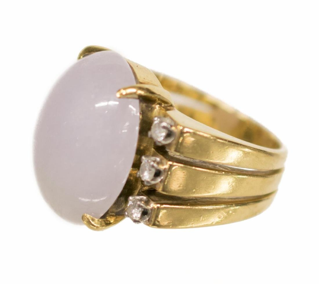LADIES ESTATE 18KT LAVENDER JADE & DIAMOND RING - 2