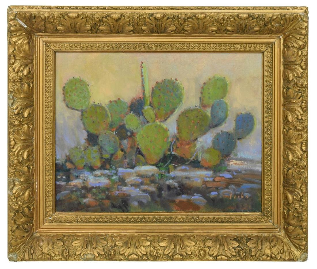 DAVID FORKS (TEXAS B. 1957) 'CACTUS OIL PAINTING