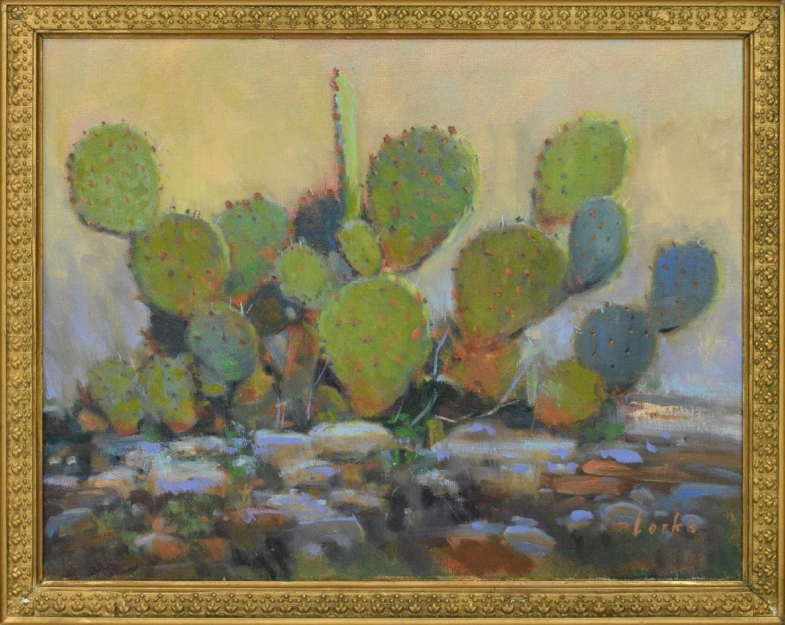 DAVID FORKS (TEXAS B. 1957) 'CACTUS OIL PAINTING - 2