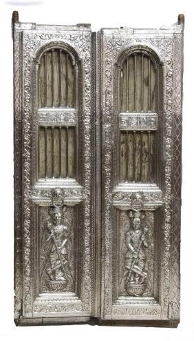 SILVER CLAD TEMPLE DOOR, INDIA, 99% PURE SILVER