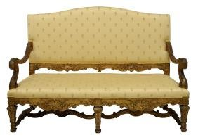 FRENCH LOUIS XVI STYLE CARVED GILT WOOD SALON SET