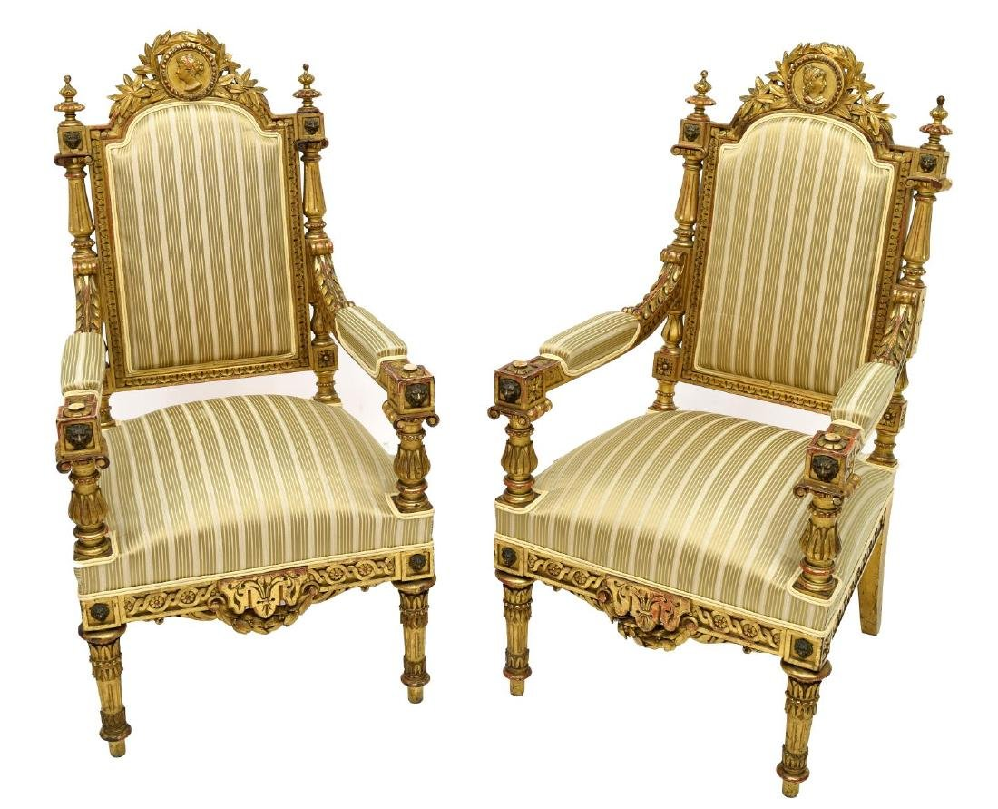 SPANISH LOUIS XVI STYLE CARVED GILTWOOD ARM CHAIRS