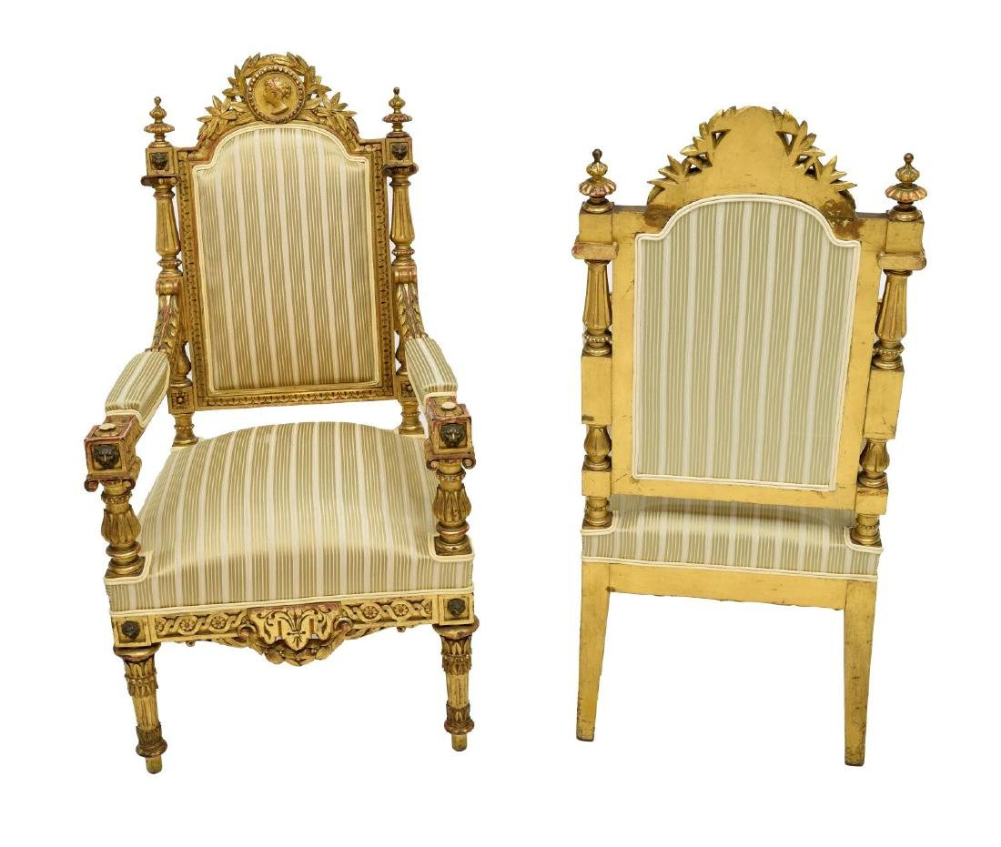 SPANISH LOUIS XVI STYLE CARVED GILTWOOD ARM CHAIRS - 2