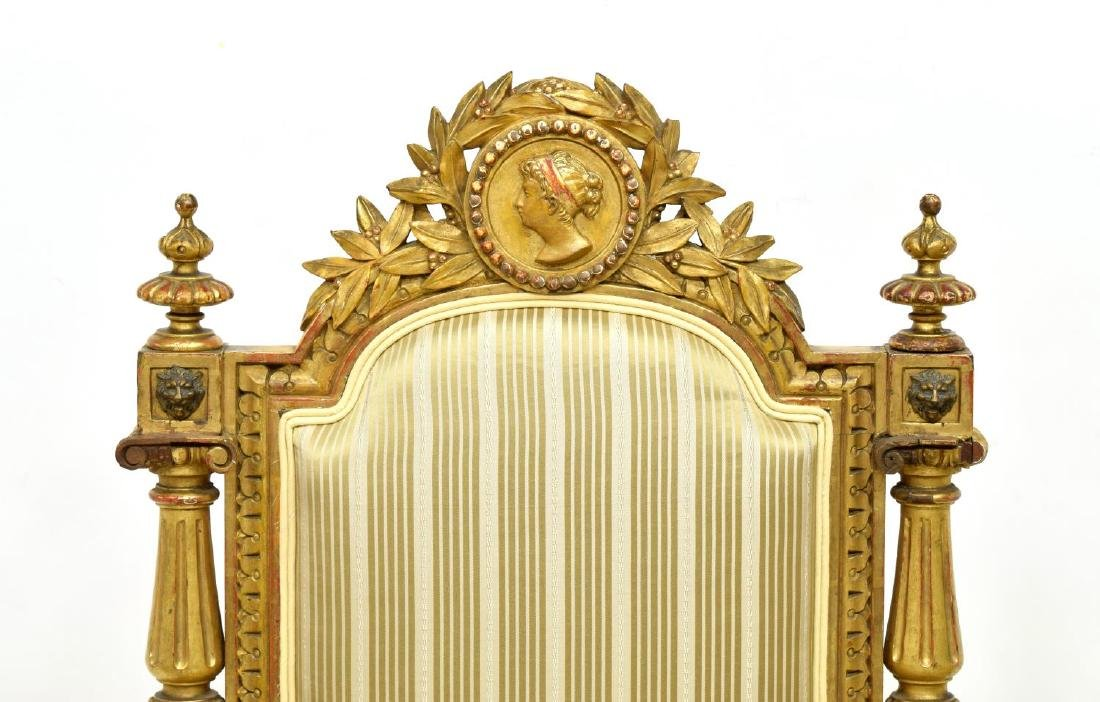 SPANISH LOUIS XVI STYLE CARVED GILTWOOD ARM CHAIRS - 3