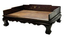 ANTIQUE CHINESE CARVED WOVEN TOP OPIUM BED, MING
