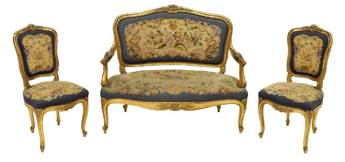 FRENCH LOUIS XV STYLE CARVED GILTWOOD SALON SUITE