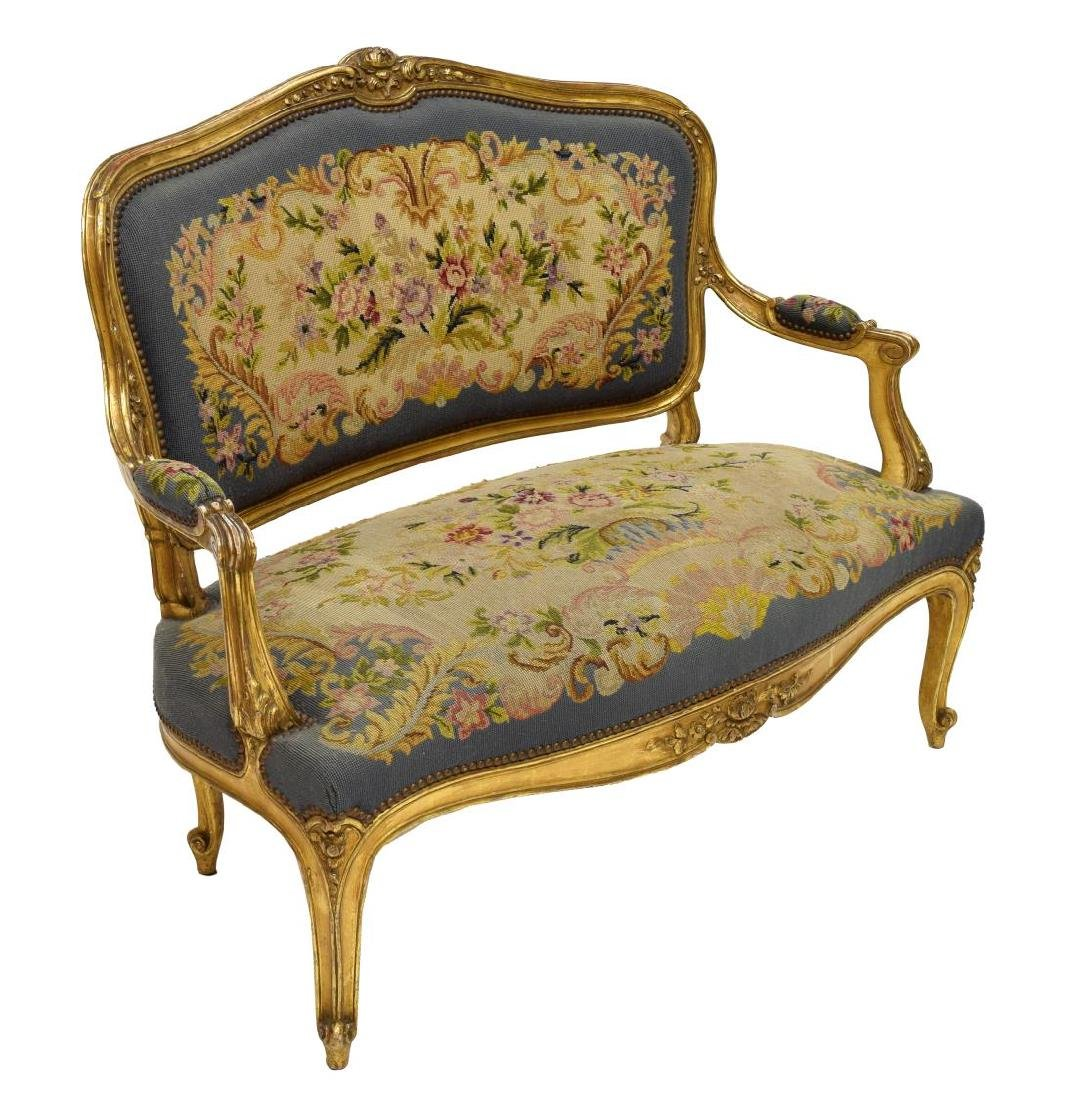 FRENCH LOUIS XV STYLE CARVED GILTWOOD SALON SUITE - 2