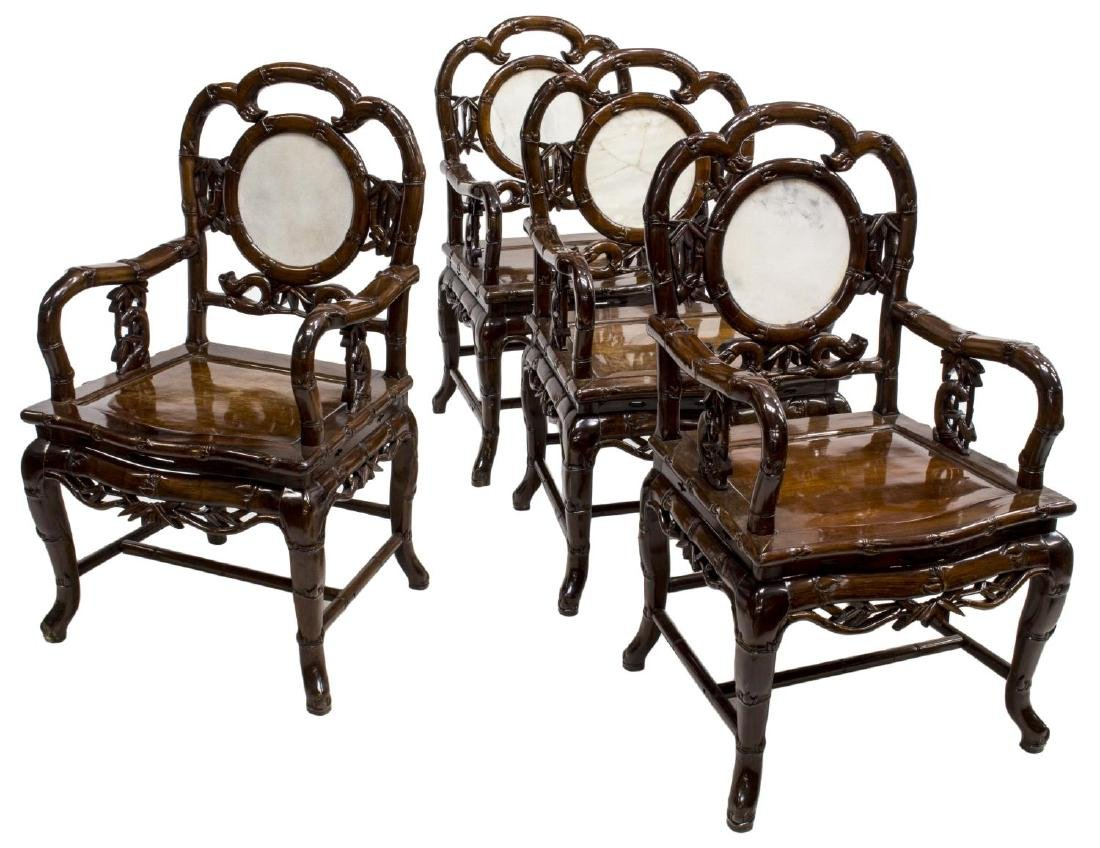 (4) CHINESE HARDWOOD & MARBLE OPEN ARMCHAIRS