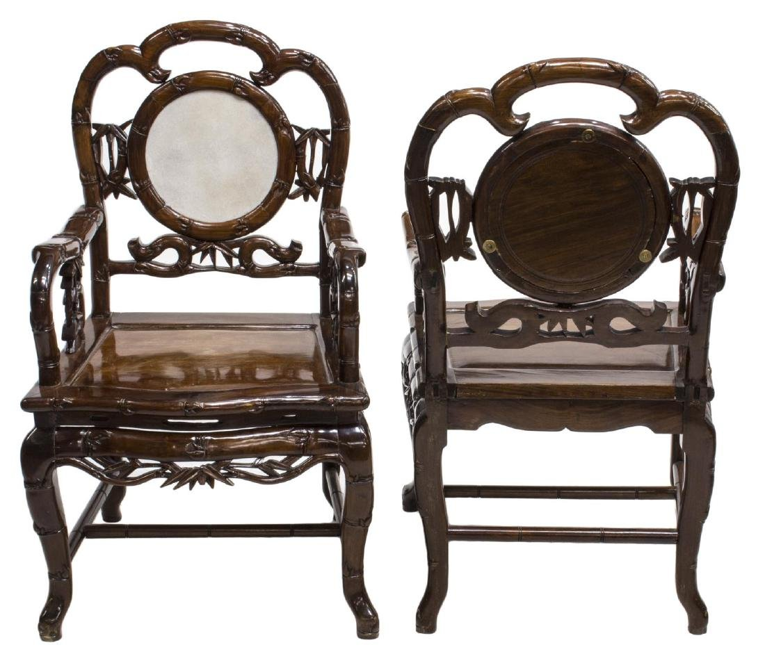 (4) CHINESE HARDWOOD & MARBLE OPEN ARMCHAIRS - 2