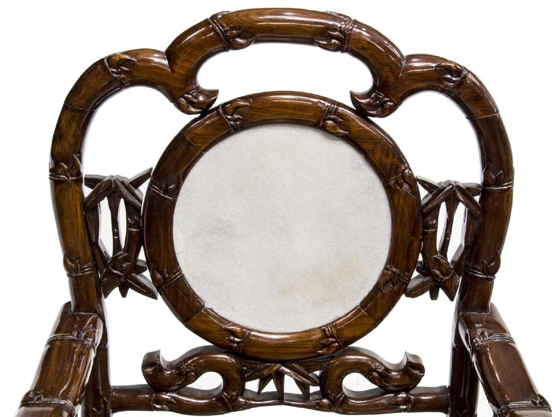 (4) CHINESE HARDWOOD & MARBLE OPEN ARMCHAIRS - 3