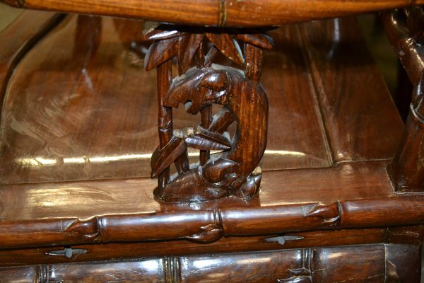 (4) CHINESE HARDWOOD & MARBLE OPEN ARMCHAIRS - 9