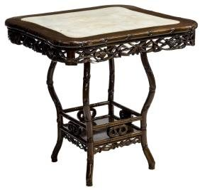 CHINESE HARDWOOD AND MARBLE OCCASIONAL TABLE