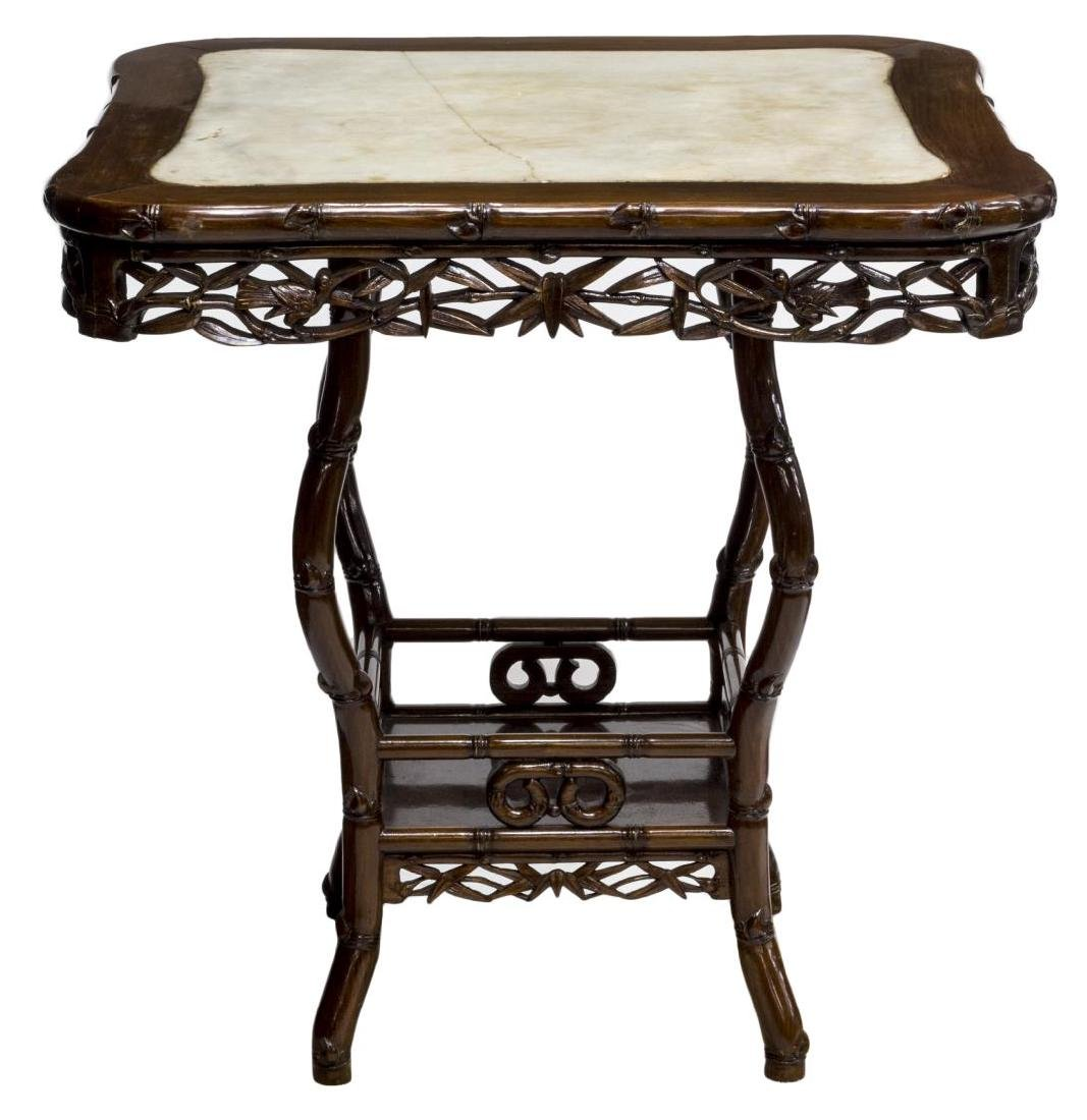 CHINESE HARDWOOD AND MARBLE OCCASIONAL TABLE - 2