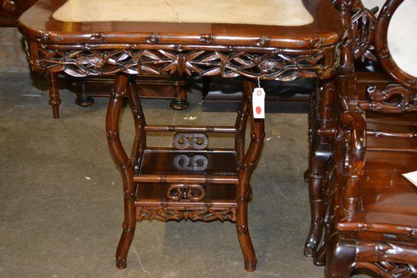 CHINESE HARDWOOD AND MARBLE OCCASIONAL TABLE - 6
