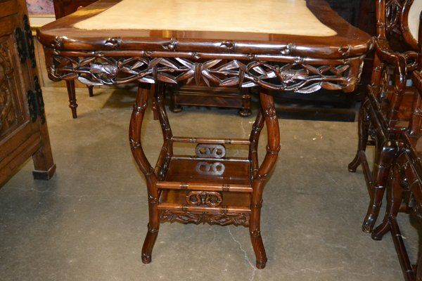 CHINESE HARDWOOD AND MARBLE OCCASIONAL TABLE - 7