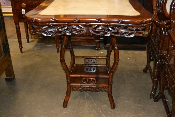 CHINESE HARDWOOD AND MARBLE OCCASIONAL TABLE - 8