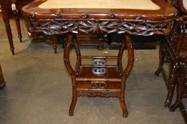 CHINESE HARDWOOD AND MARBLE OCCASIONAL TABLE - 9