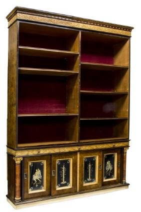 ITALIAN EMPIRE REVIVAL ETCHED GLASS DOOR BOOKCASE