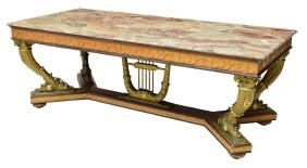 ITALIAN EMPIRE REVIVAL MARBLE TOP DINING TABLE