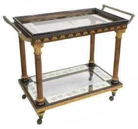 ITALIAN EMPIRE REVIVAL GLASS & CARVED SERVICE CART
