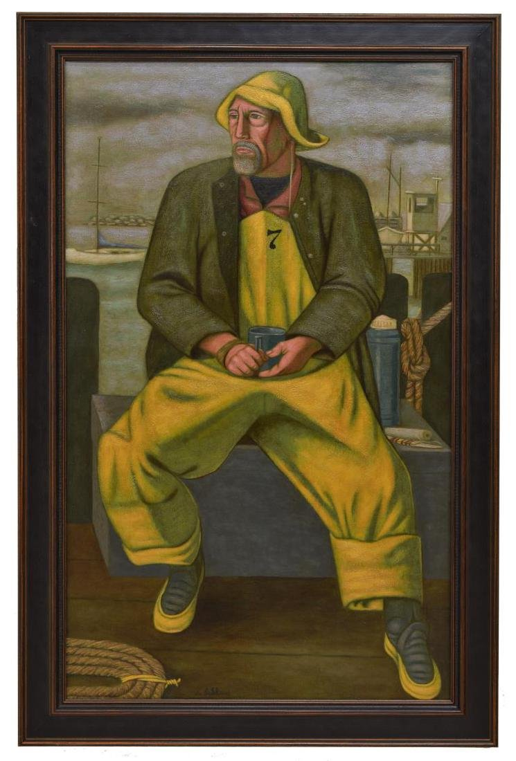 NORBERT SCHLAUS (1927-2009) FISHERMAN OIL PAINTING