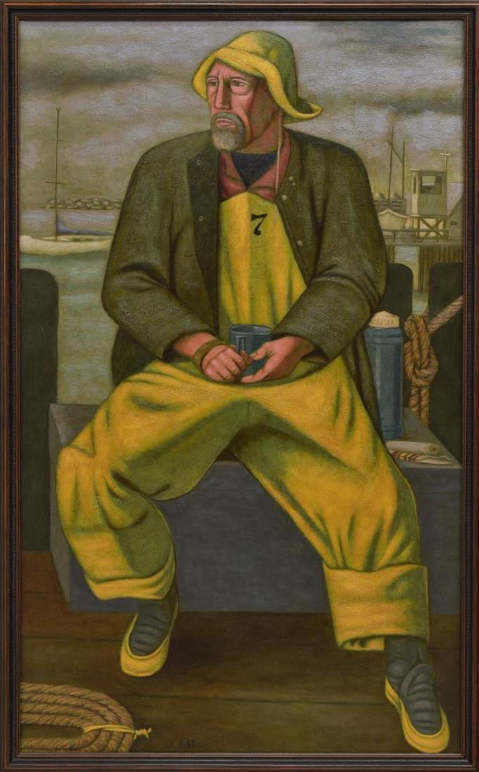 NORBERT SCHLAUS (1927-2009) FISHERMAN OIL PAINTING - 2