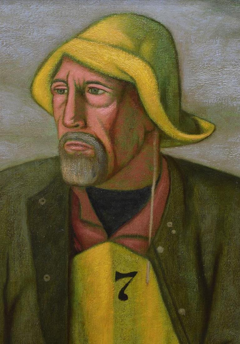 NORBERT SCHLAUS (1927-2009) FISHERMAN OIL PAINTING - 4