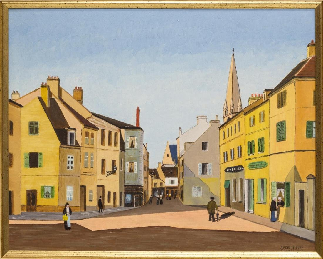 FRAMED CITYSCAPE OIL PAINTING, SIGNED, 1963