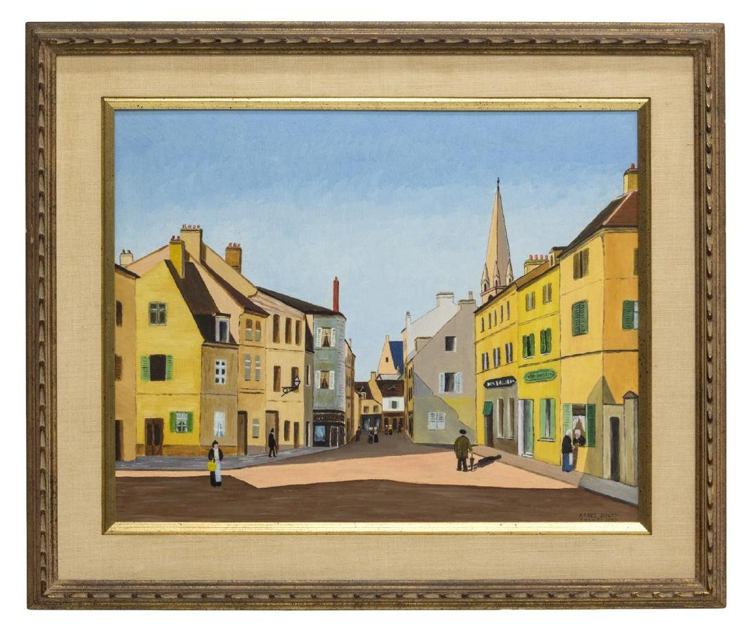 FRAMED CITYSCAPE OIL PAINTING, SIGNED, 1963 - 2