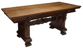ITALIAN RENAISSANCE REVIVAL CARVED DINING TABLE