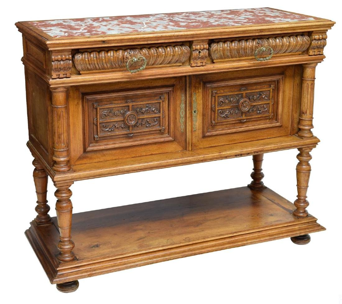 FRENCH HENRI II STYLE MARBLE TOP SIDEBOARD 19TH C