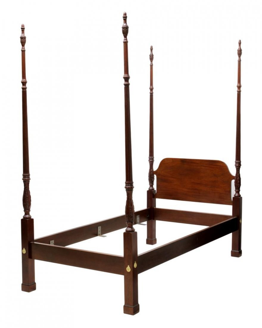 (2) MAHOGANY SINGLE SIZE FOUR POSTER BEDS - 2