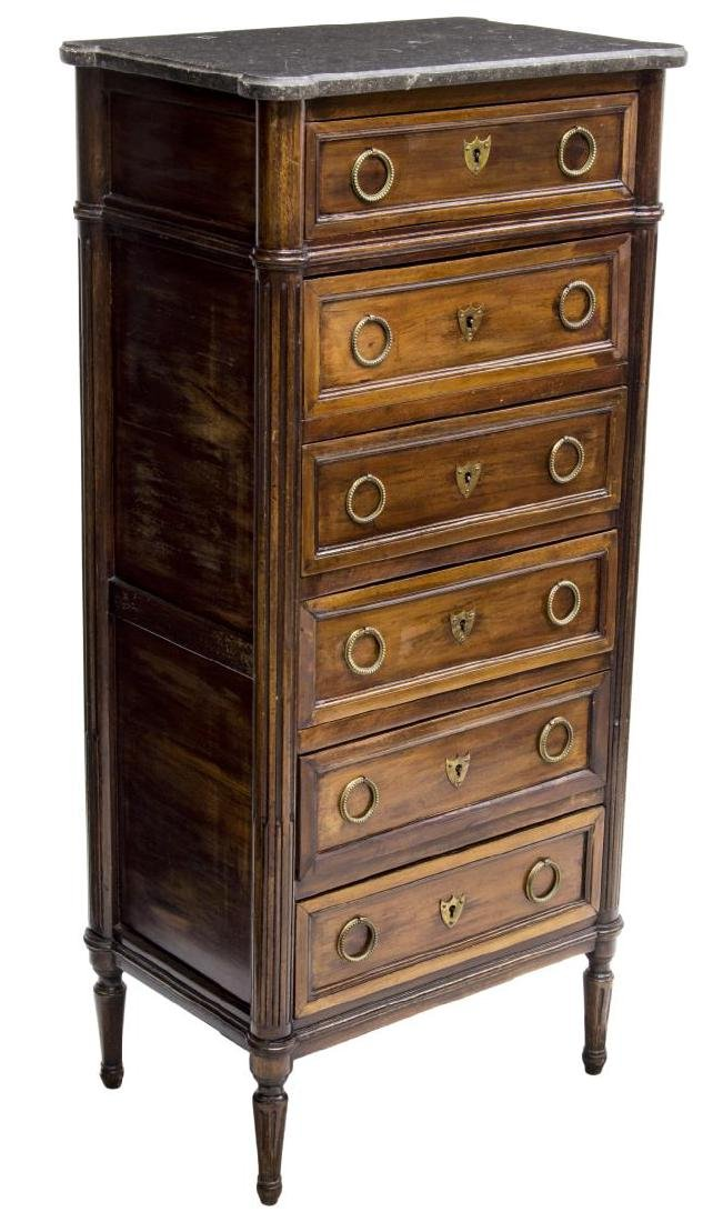 LOUIS XVI SYTLE MARBLE TOP CHEST OF DRAWERS