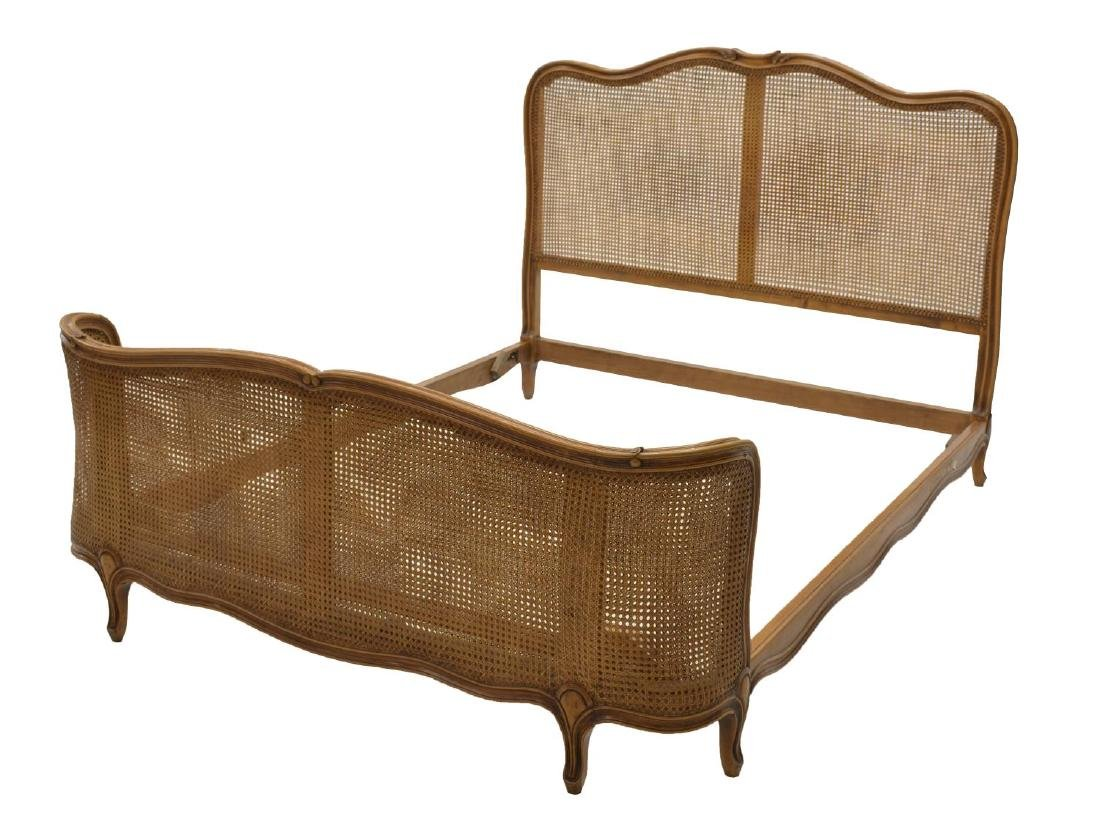 VINTAGE ITALIAN LOUIS XV STYLE CANED BED, 20TH C