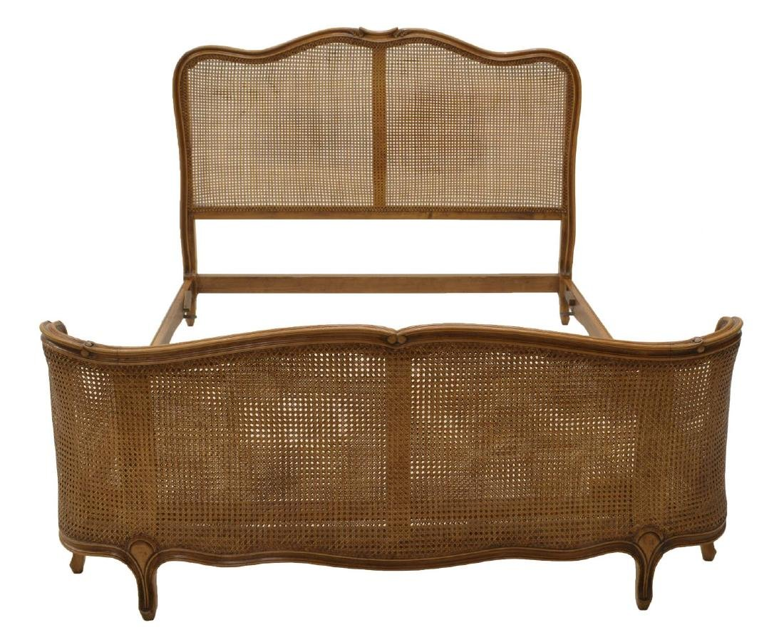 VINTAGE ITALIAN LOUIS XV STYLE CANED BED, 20TH C - 2