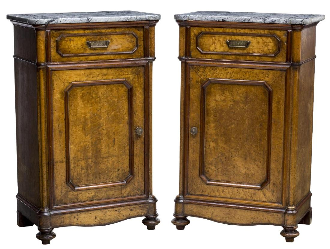 (2) VICTORIAN MAPLE MARBLE TOP BEDSIDE CABINETS