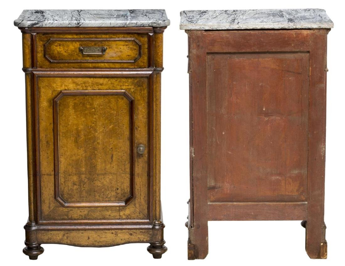 (2) VICTORIAN MAPLE MARBLE TOP BEDSIDE CABINETS - 2