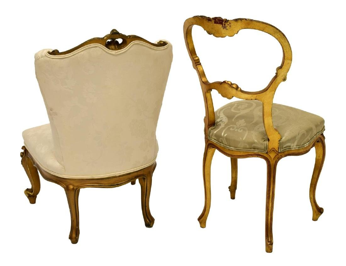 (2) FRENCH LOUIS XV STYLE GILT BOUDOIR CHAIRS - 2